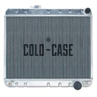 "Cold-Case Radiators - Cold-Case Aluminum Radiator - 25.75"" W x 20.125"" H x 3"" D - Passenger Side Inlet - Passenger Side Outlet - With Air Conditioning - Polished - Manual - GM A-Body 1964-65"