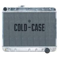 """Cooling & Heating - Cold-Case Radiators - Cold-Case Aluminum Radiator - 25.25"""" W x 20.125"""" H x 3"""" D - Driver Side Inlet - Passenger Side Outlet - Without Air Conditioning - Polished - Manual - GM A-Body 1966-67"""
