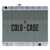 """Cooling & Heating - Cold-Case Radiators - Cold-Case Aluminum Radiator - 25.25"""" W x 20.125"""" H x 3"""" D - Driver Side Inlet - Passenger Side Outlet - Without Air Conditioning - Polished - Automatic - GM A-Body 1966-67"""