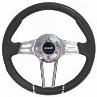 """Steering Components - Grant Products - Grant Club Sport Steering Wheel - 13-1/2"""" Diameter - 3-Spoke - Black Vinyl Grip - Polished"""