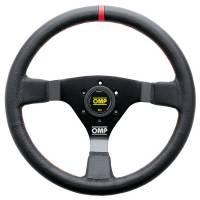 Steering Components - OMP Racing - OMP WRC Steering Wheel - 350 mm Diameter - 3-Spoke - Leather Grip - Red Stripe - Black Anodize