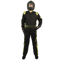 Velocity Race Gear - Velocity 1 Sport Suit - Black/Fluo Yellow - Large - Image 3