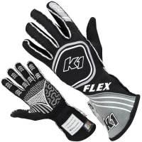 Kids Race Gear - Kids Racing Gloves - K1 RaceGear - K1 RaceGear Flex Youth Gloves - Black/Grey - 4X-Small