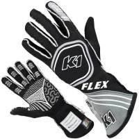 Kids Race Gear - Kids Racing Gloves - K1 RaceGear - K1 RaceGear Flex Youth Gloves - Black/Grey - X-Small