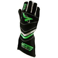 LABOR DAY SALE! - Racing Glove Sale - Velocity Race Gear - Velocity 5 Race Glove - External Seam - Black/Fluo Green - Large