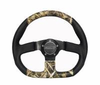 """Steering Components - Grant Products - Grant D-Series Steering Wheel - 13-3/4 x 11-3/4"""" D-Shaped - 3-Spoke - Black / Camouflage Vinyl Grip - Aluminum - Black Anodized"""