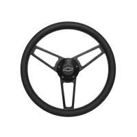 "Steering Components - Grant Products - Grant Billet Series Steering Wheel - 14-3/4"" Diameter - 3 Spoke - Black Leather Grip - Bow Tie Logo - Billet Aluminum - Black Anodized"