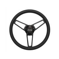 "Steering Components - Grant Products - Grant Billet Series Steering Wheel -14-3/4"" Diameter - 3 Spoke - Black Leather Grip - Jeep Logo - Billet Aluminum - Black Anodized"