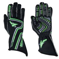 Velocity Race Gear Gloves - Velocity Grip Glove - SALE $79.99 - SAVE $20 - Velocity Race Gear - Velocity Grip Glove - Black/Fluo Green/Silver - Medium