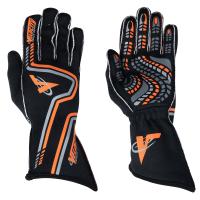 Velocity Race Gear Gloves - Velocity Grip Glove - SALE $79.99 - SAVE $20 - Velocity Race Gear - Velocity Grip Glove - Black/Fluo Orange/Silver - Small