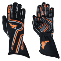 Velocity Race Gear Gloves - Velocity Grip Glove - SALE $79.99 - SAVE $20 - Velocity Race Gear - Velocity Grip Glove - Black/Fluo Orange/Silver - XX-Large