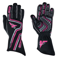Velocity Race Gear Gloves - Velocity Grip Glove - SALE $79.99 - SAVE $20 - Velocity Race Gear - Velocity Grip Glove - Black/Fluo Pink/Silver - Medium