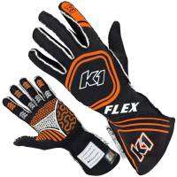 K1 RaceGear - K1 Racegear Flex Nomex Driver's Gloves - Black/Orange - Small