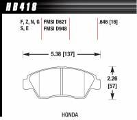 Hawk Performance - Hawk Brake Pads Front Honda HPS