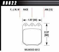 Brake Pad Sets - Circle Track - Wilwood Dynalite Single Pads (6812) - Hawk Performance - Hawk Disc Brake Pads - Black - w/ 0.490 Thickness