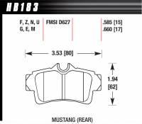 Brake Pad Sets - Street Performance - 1994-2004 Mustang D627 Pads (D627) - Hawk Performance - Hawk Disc Brake Pads - HPS Performance Street w/ 0.660 Thickness
