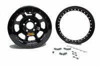 "Aero Wheels - Aero 53 Series IMCA Beadlock Wheels - Aero Race Wheel - Aero 53 Series IMCA Rolled Beadlock Wheel - Black - 15"" x 8"" - 4"" BS - 5 x 4.75"" - 23 lbs."