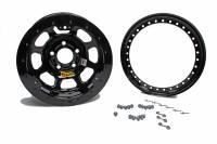 "Aero Wheels - Aero 53 Series Rolled Beadlock Wheels - Aero Race Wheel - Aero 53-Series Roll Formed Beadlock Wheel - Black - 15"" x 8"" - 2"" Backspace - 5 x 5"" Bolt Pattern"
