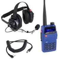 Radios,Transponders & Scanners - Radio Communication Systems - Rugged Radios - Rugged Radios V3 5 Watt Dual Band Handheld Radio Crew Chief Or Spotter Kit With Carbon Fiber Headset