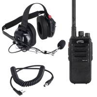 Radios, Transponders & Scanners - Radio Communication Systems - Rugged Radios - Rugged Radios RDH 5 Watt UHF Digital Handheld Radio Crew Chief Or Spotter Kit With Carbon Fiber Headset