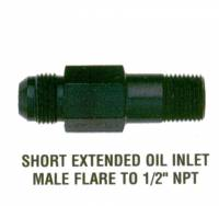 "Oil Fittings & Adapters - Oil Galley Fittings - XRP - XRP Extended Oil Inlet -10 AN Male Flare to 1/2"" NPT - 3.1"" Length"
