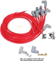 Ignition & Electrical System - MSD - MSD 2-In-1 Univeral Super Conductor Spark Plug Wire Set - (Red) - Fits 8 Cylinder Engine - Includes Terminals for Socket or HEI Style Cap, 90° Spark Plug Boots & Terminals, 90° Distributor Boots & Terminals