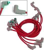 Spark Plug Wires - MSD 8.5mm Super Conductor Spark Plug Wire Sets - MSD - MSD Custom Fit Super Conductor Spark Plug Wire Set - (Red) - Fits 1971-74 Chevy 307/327/350 Cars w/ Wires Over Valve Covers - 90 Socket Distributor Boots & Terminals, 90 Spark Plug Boots & Terminals