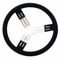"Interior & Cockpit - Longacre Racing Products - Longacre 15"" Aluminum Steering Wheel - Black w/ Natural Spokes and Smooth Grip"