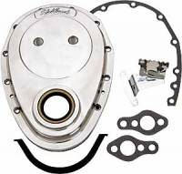 "Engine Components - Edelbrock - Edelbrock Aluminum Timing Cover - Small-Block Chevrolet - Compatible w/ Short Thrust Buttons (.640"")."