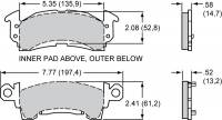 "Brake Pad Sets - Circle Track - GM Pads (D52) - Wilwood Engineering - Wilwood Polymatrix ""H"" Compound Brake Pads - Fits GM III Calipers"