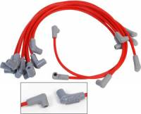 Spark Plug Wires - MSD 8.5mm Super Conductor Spark Plug Wire Sets - MSD - MSD 8.5mm Super Conductor Spark Plug Wire Set - Under Header - HEI Style - Spiral Core - 8.5mm - Red - 90 Plug Boot - SB Chevy - V8