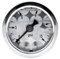 Gauges - Pressure Gauges - Allstar Performance - Allstar Performance Shockproof Engine Turned 0-15 PSI Gauge - 1-1/2""