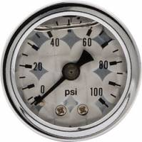 Analog Gauges - Fuel Pressure Gauges - Allstar Performance - Allstar Performance Shockproof Engine Turned 0-100 PSI Gauge - 1-1/2""