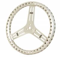 "Sprint Car Steering - Sprint Car Steering Wheels - Longacre Racing Products - Longacre 15"" Uncoated Aluminum Steering Wheel - Drilled - Flat (Sprint)"