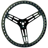 "Midget Steering - Midget Steering Wheels - Longacre Racing Products - Longacre Uncoated Black Drilled Aluminum Steering Wheel - 15"" - Flat (Sprint)"