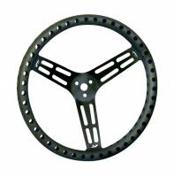 "Competition Steering Wheels - Aluminum Lightweight - 14"" Aluminum Lightweight Steering Wheels - Longacre Racing Products - Longacre 14"" Black Aluminum Non-Coated Steering Wheel - Dished - Drilled"