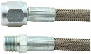 "Fittings & Hoses - Brake Line Hoses - #4 Braided Steel Hose With -4AN Straight / 1/8"" NPT Ends"