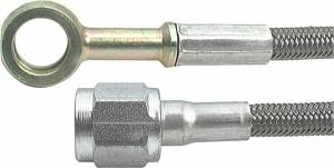 Fittings & Hoses - Brake Line Hoses - #4 Braided Steel Hose With -4AN Straight / 10mm Banjo Ends