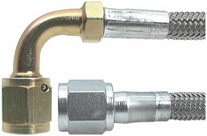 Fittings & Hoses - Brake Line Hoses - #4 Braided Steel Hose With -4AN Straight / 90 Degree Ends