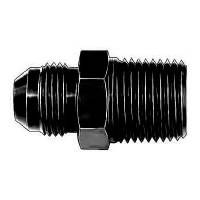 "Male Pipe Thread to AN Male Adapters - Male Pipe Thread to Male AN - Black - Aeroquip - Aeroquip Black Aluminum -10 Male AN to 1/2"" NPT Straight Adapter"