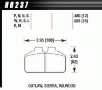 Brake Pad Sets - Circle Track - Wilwood Dynalite Bridge Bolt Pads (7212) - Hawk Performance - Hawk Performance Brake Pad Set - Fits Dynalite Bridgebolt & Similar Calipers - DTC-30 Compound