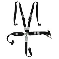 Latch & Link Restraint Systems - 5 Point Latch & Link Restraints - Hooker Harness - Hooker Harness 5-Point Harness System - HANS Compatible - Left Lap Belt Upside Down Ratchet Adjust - Black